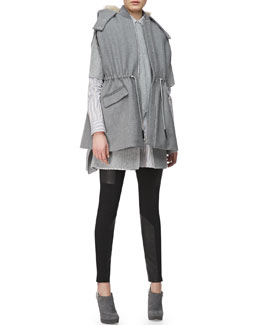 Thakoon Addition Drawstring-Waist Hooded Cape, Split-Front Knit Poncho, Long-Sleeve Cross-Front Shirtdress & Leather-Paneled Ponte Leggings