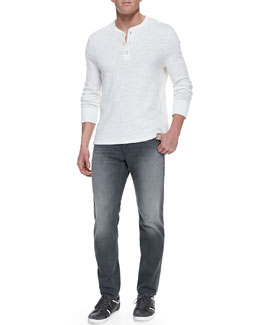 Rag & Bone Slub-Knit Basic Henley and Pullman Skinny Jeans