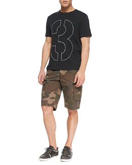 Rag & Bone Short-Sleeve Number Tee & Camo-Print Ripstop Shorts