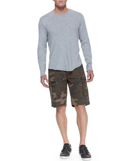 Rag & Bone Raw-Edge Long-Sleeve Tee and Camo-Print Ripstop Shorts