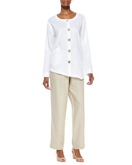 Go Silk Linen Asymmetric Shirt & Unlined Straight-Leg Linen Pants, Petite