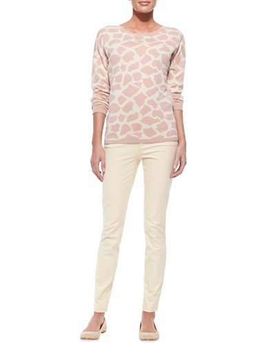Minnie Rose Giraffe-Print Sweater & Slim-Fit Twill Pants