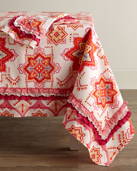 "Coral Round Tablecloth, 90""Dia."