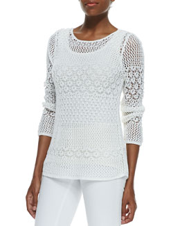 Magaschoni Novelty Stitch Sweater and Ribbed Silk-Cashmere Tank