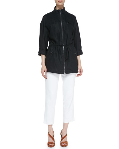 Magaschoni Easy Zip-Front Drawstring Jacket & Lined Linen Ankle Pants,