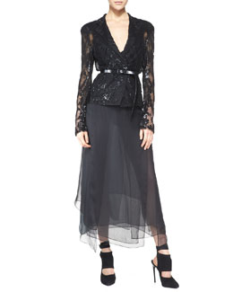 Donna Karan Belted Long-Sleeve Sequined Jacket, Sleeveless Sheer-Back Bodysuit & Silk Skirt