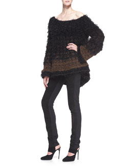 Donna Karan Oversized Cashmere/Alpaca Blend Sweater & Straight-Leg Pants with Suede Front