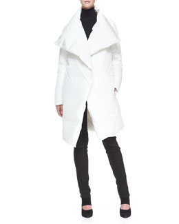 Donna Karan Down Puffer Clutch Coat, Sleeveless Back-Zip Turtleneck & Straight-Leg Pants with Suede Front