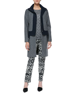 Lela Rose Colorblock Felt Coat with Zip-Off Hem, Faux Pearl-Embroidered Top & Catherine Geometric-Print Pants