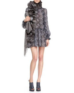Michael Kors  Python-Print Drop-Waist Dress & Fox Fur Scarf