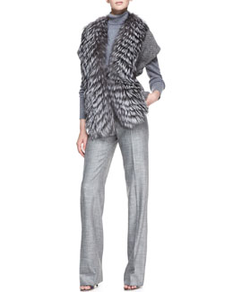 Carolina Herrera Fox Fur Trim Sweater, Long-Sleeve Melange Turtleneck Sweater, Stretch Wool Straight-Leg Pants
