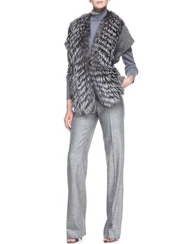 Carolina Herrera Fox Fur Trim Sweater, Long-Sleeve Melange Turtleneck Sweater, Stretch Wool Straight-Leg Pants
