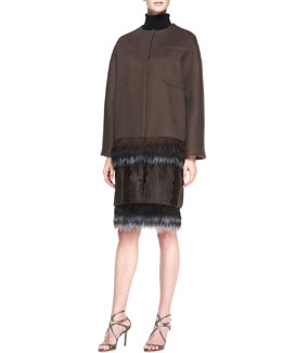 Carolina Herrera Cashmere Coat with Fringe Hem, Long-Sleeve Turtleneck Sweater & Pixelated Pencil Skirt