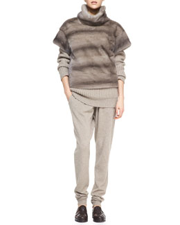 Michael Kors  Turtleneck Mink Fur Pullover, Chunky Ribbed Cashmere Turtleneck & Wide-Waist Cashmere Sweatpants