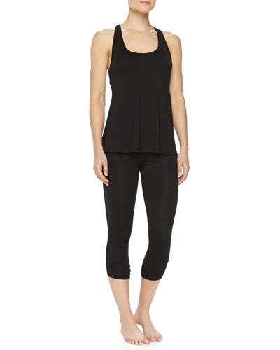 Jersey Racerback Tank & Ruched Crop Leggings