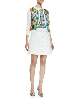 Dolce & Gabbana Tile-and-Orange Cardigan and Top & Embossed Flower-Button Skirt