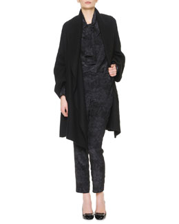 Bottega Veneta Belted Wide-Collared Cashmere Coat, Long-Sleeve Chrysanthemum-Print Silk Blouse & Pants