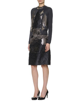 Bottega Veneta Metallic-Laminated Lace Cardigan & Sleeveless Metallic-Laminated Floral Cloque Dress