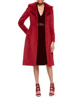 Oscar de la Renta Long Alpaca Princess Coat, Long-Sleeve Velvet Dress & Golden Metal Waist Belt