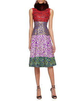 Oscar de la Renta Fur Collar & Multi-Print Cocktail Dress
