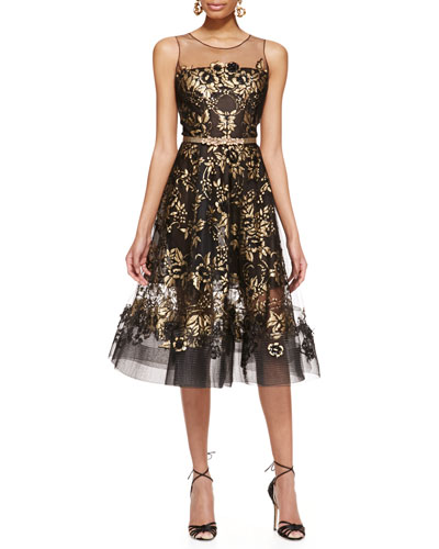 Oscar de la Renta Lace-Embroidered A-Line Dress and Metallic Crystal Flower Belt