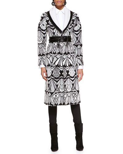 Oscar de la Renta Printed Shawl-Collar Coat, Long-Sleeve Collared Poplin Blouse & Skinny Wool-Blend Pants
