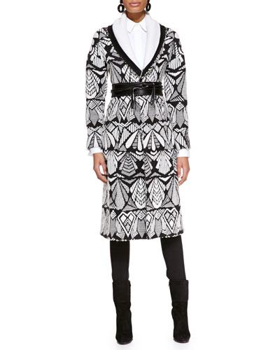 Oscar de la Renta Printed Shawl-Collar Coat, Long-Sleeve Collared Poplin Blouse & Skinny Wool-Blend Pants