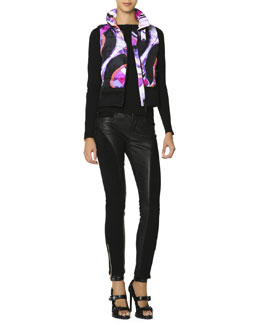 Emilio Pucci Zip-Front Printed Quilted Vest, Zip-Trim Top & Leather Panel Zip Ankle Leggings