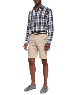 Michael Kors  Check Shirt & Slim Twill Shorts