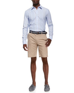 Michael Kors  Seam-Stripe Shirt & Slim Twill Shorts