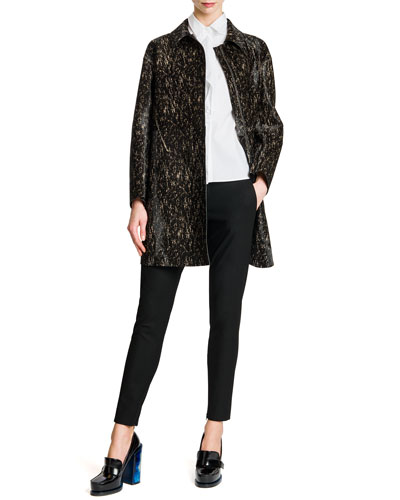 Long Leather Speckled Coat, Front-Flap Cotton Blouse & Tab-Front Zipper-Cuff Slim Pants
