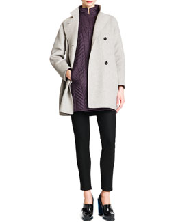 Jil Sander Wool/Cashmere Button-Front Coat, Quilted Drop-Shoulder Tech Coat & Tab-Front Zipper-Cuff Slim Pants