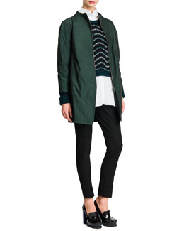Jil Sander Zip-Front Collarless Tech Jacket, Wavy-Stripe Cropped Knit Sweater, Button-Front Mock-Collar Tunic & Tab-Front Zipper-Cuff Slim Pants