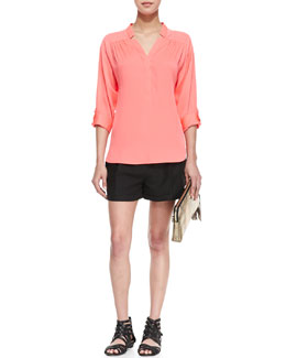 Milly Katalina Pleated Stretch-Silk Blouse & Stella Cuffed Linen-Blend Shorts