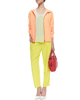 Joie Layerz Active Long-Sleeve Hoodie Jacket, Arthur Pleated Relaxed Pants & Alicia Silk Pocket Tank