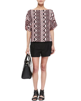 Milly Geometric-Print Dolman-Sleeve Top & Stella Cuffed Linen-Blend Shorts