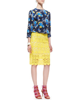 Equipment Sheer Lace Pencil Skirt & Lynn Floral-Print Blouse