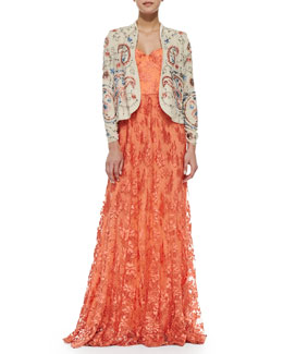 Alice + Olivia Tyler Floral-Lace Maxi Gown & Eliette Open Embroidered Jacket