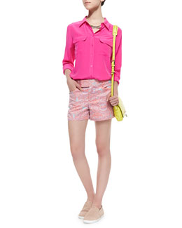 Equipment Soiree Whimsical Embroidered Shorts & Slim Signature Silk Shirt