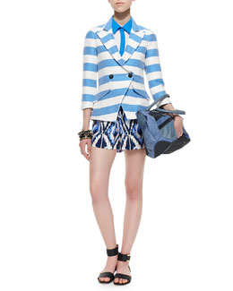 Alice + Olivia Jude Ikat-Print Silk Shorts, Jones Short-Sleeve Contrast-Trim Blouse & Spring Striped Crossover Blazer