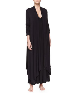 Donna Karan Liquid Jersey Wrap Robe & Long Tank Gown, Black
