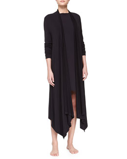 Donna Karan Liquid Jersey Wrap Robe & Sleepshirt, Black