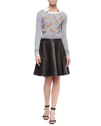 Diane von Furstenberg Praia Long-Sleeve Cropped Sweater, Lorelei Long-Sleeve Silk Blouse & Riley Flowy Leather Skirt