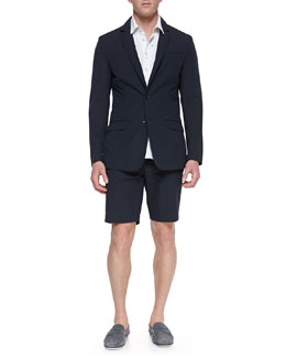 Rag & Bone Phillips Cotton-Blend Blazer, Toucan-Embroidered Oxford Shirt & Cotton-Blend Beach Shorts