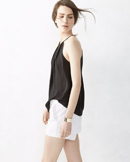 Joie Amarey Silk Sleeveless Tank Top & Marci Lace Eyelet Shorts