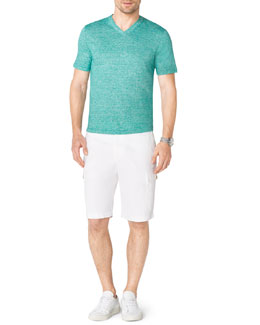 Michael Kors  V-Neck Slub Tee & Contrast-Cuff Fleece Shorts