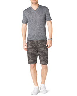 Michael Kors  Short-Sleeve V-Neck Slub Tee & Camo-Print Fleece Shorts
