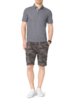 Michael Kors  Birdseye-Trim Polo & Camo-Print Fleece Shorts