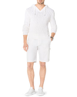 Michael Kors  Ribbed Knit Hooded Pullover & Chambray Cargo Shorts