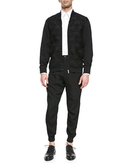 Alexander McQueen Skull-Design Jacquard Zip Sweatshirt & Long-Sleeve Harness Shirt & Micro-Quilt Jacquard Sweatpants